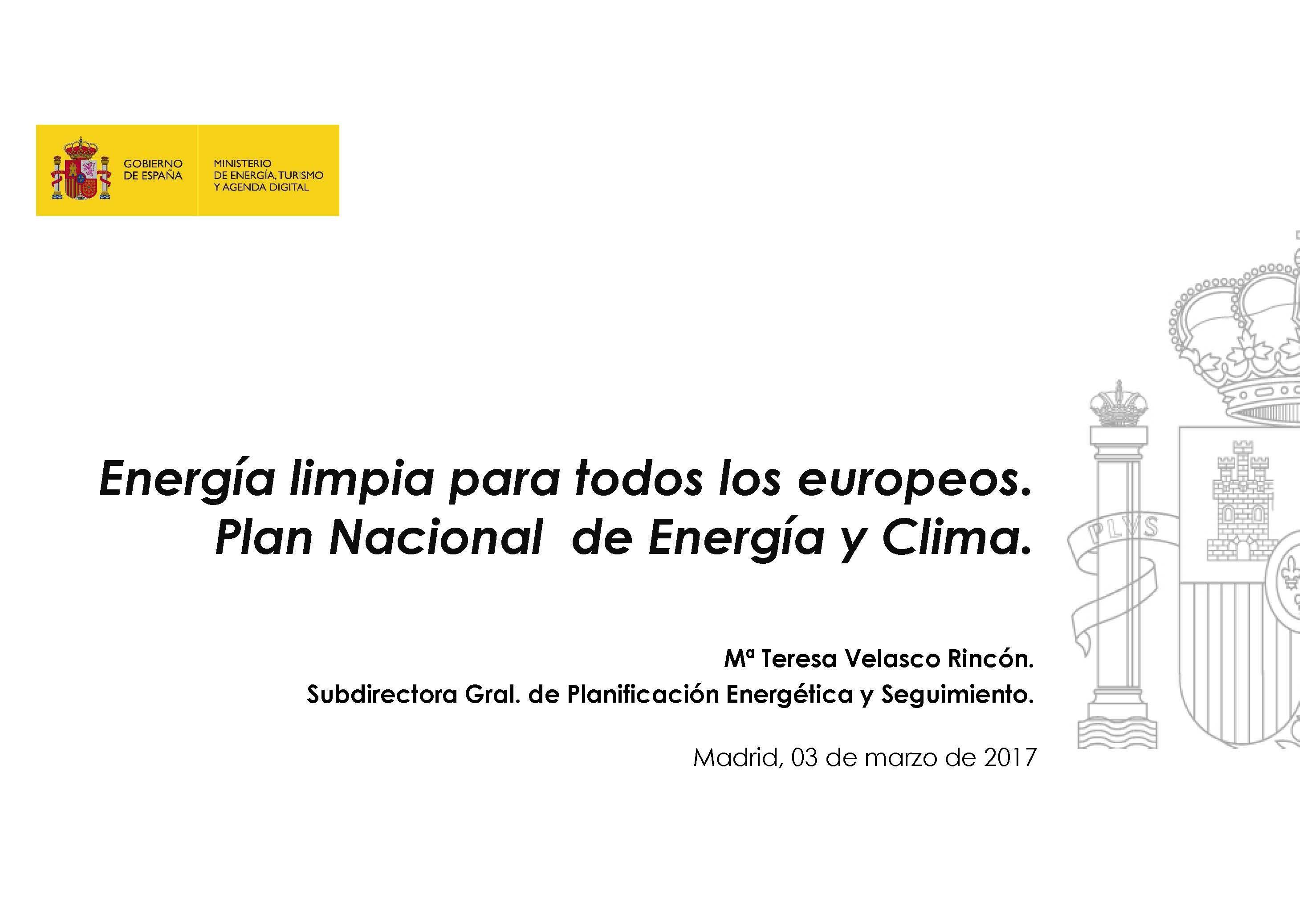 Energía limpia para todos los europeos. Plan Nacional de Energía y Clima