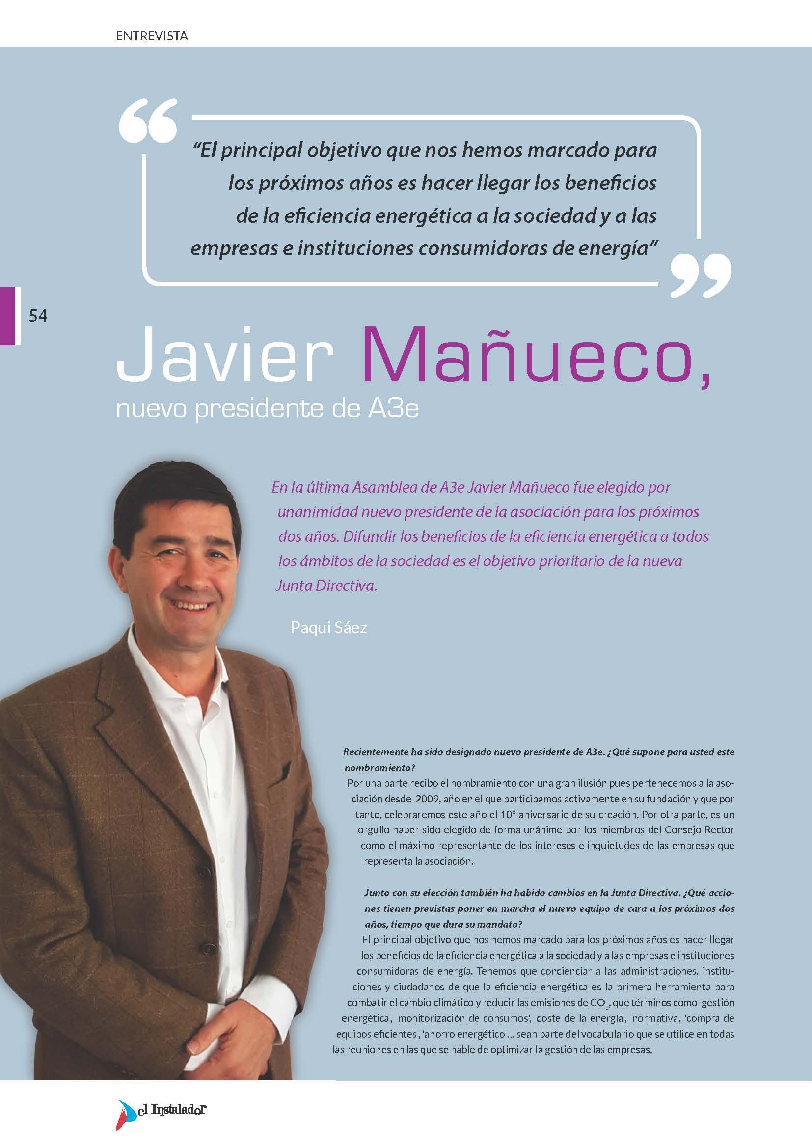 Entrevista a Javier Mañueco, nuevo presidente de A3e en El Instalador