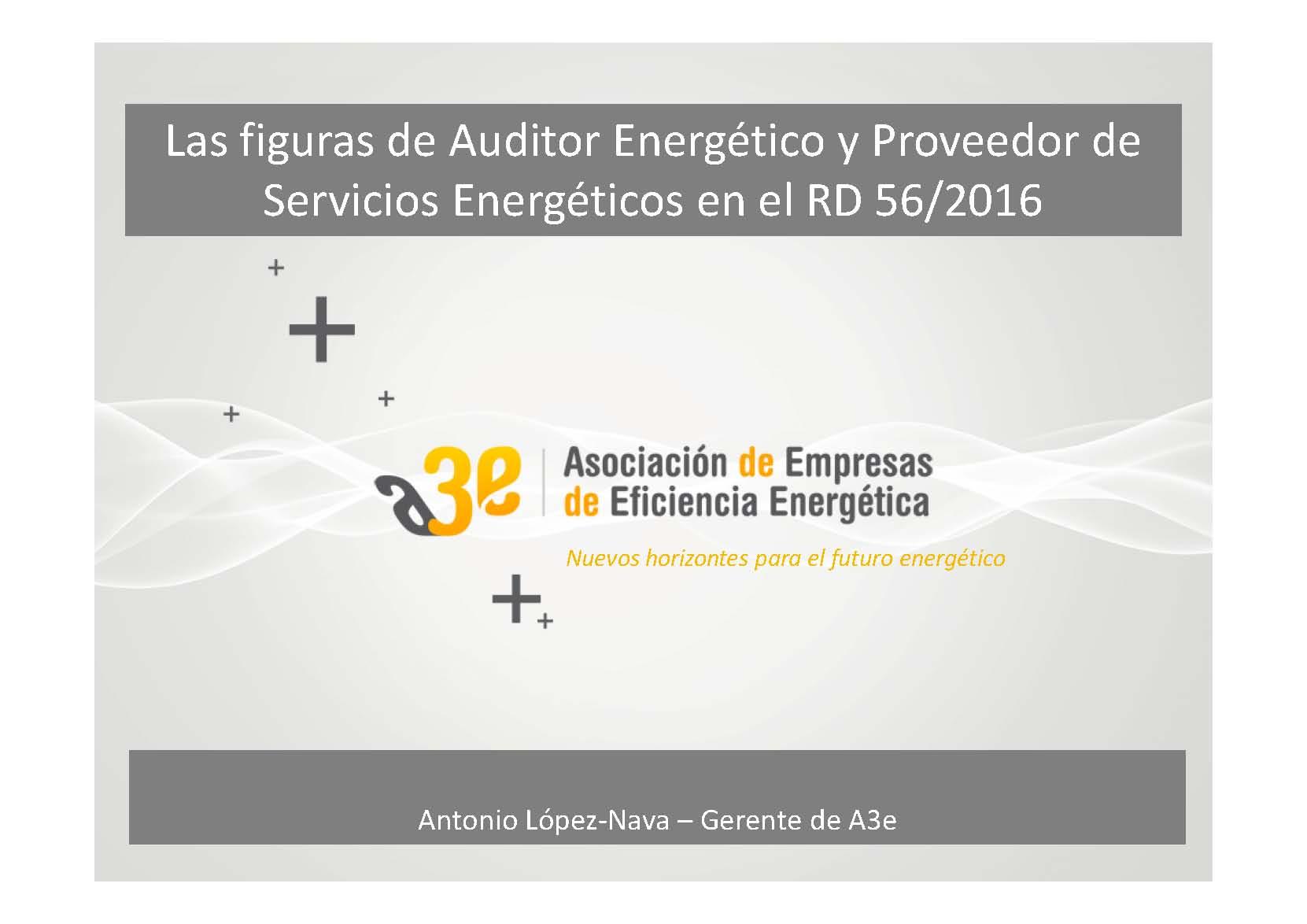 Las figuras de Auditor Energético y Proveedor de Servicios Energéticos