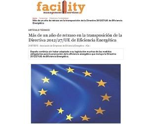 Más de un año de retraso en la transposición de la Directiva 2012/27/UE de eficiencia energética