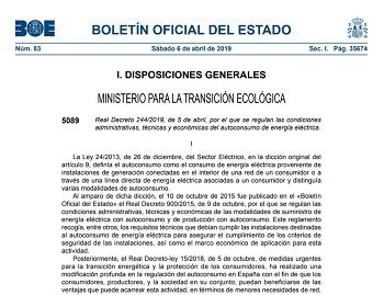 Real Decreto 244/2019, de 5 de abril, de AUTOCONSUMO