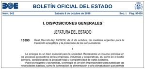 Real Decreto-ley 15/2018, de 5 de octubre, de medidas urgentes para la transición energética y la protección de los consumidores.