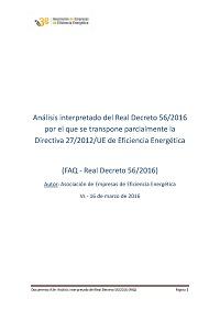 Análisis interpretado del Real Decreto 56/2016