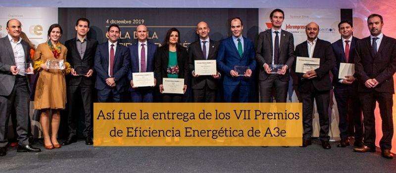 Ganadores de los VII Premios de Eficiencia Energética de A3e